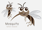 Vector Mosquito Cartoon Character design; Cute style concept.