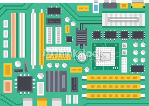 Vector Motherboard Illustration Computer Main Printed Circuit Board ...