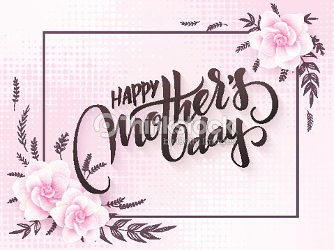 Vector mothers day lettering with blooming gardenia flowers and hand lettering phrase - happy mother\'s day with halftone.
