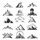 Vector mountain icons. Outdoor travel mountains black silhouettes on white background