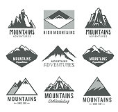 Vector mountains, rocks and peaks icons isolated on white.