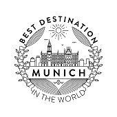 Vector Munich City Badge, Linear Style