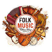 Folk music concert sketch poster with musical instruments. Vector design of musical button accordion, African jembe drum folk bandura and rebec viola with music notes staff for live concert performanc