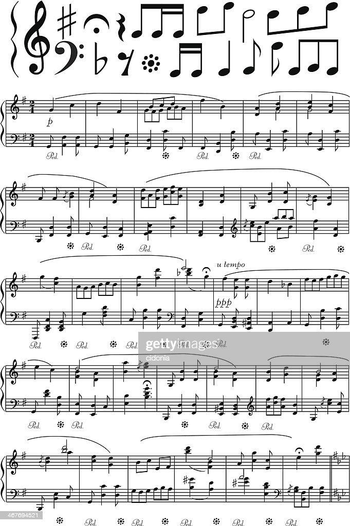 Vector music note sheet