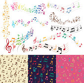 Vector music notes music melody background vector seamless pattern background.