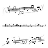 Vector music notes set isolated on black background.