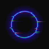 Vector Neon Blue Circle with Glitch Effect, Colorful Blank Frame Isolated on Black Background, Shining Illustration Template.
