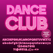 Font contains Graphic Style. Vector icon with text Dance Club