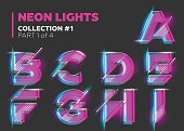 Vector Neon Character Typeset. Glowing Letters on Dark Background. Glitch Effect. Pink, Blue, Purple Overlay Layers with Stroke. Futuristic Font for DJ Music Poster, Night Club Banner, Sale Banner, Su