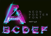 Vector Neon Font. Glowing Colorful Alphabet on Dark Background. Glitch Effect. Vibrant Pink, Blue, Purple Colors. Futuristic Typeset for DJ Music Poster, Night Club, Sale Banner, Fest. Isolated.