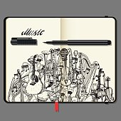 Vector Notebooks with Pencil and Hand Drawn Doodles. Collection of Music Instruments. Music and Recreation Time Concept. Black and White illustration.
