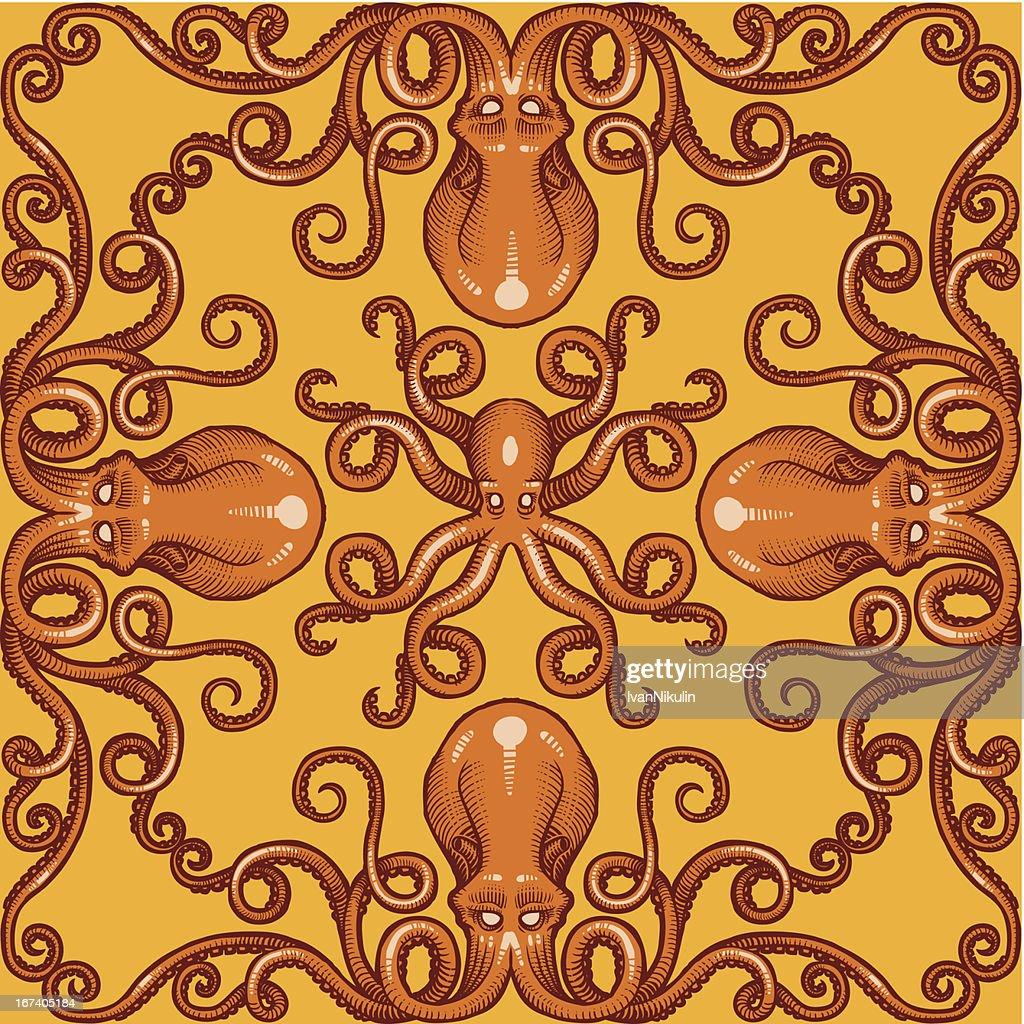 Vector octopus background pattern : Vector Art