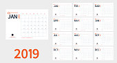 Vector of 2019 new year calendar in clean minimal table simple style and blue and orange color,Holiday event planner,Week Starts Sunday.include holiday event.A5 size