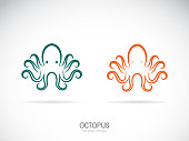 Vector of an octopus design on a white background. Aquatic animals. Easy editable layered vector illustration.