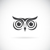 Vector of an owl face design on white background. Bird symbol. Wild Animals. Easy editable layered vector illustration.