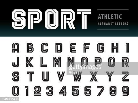 Vector of Athletic Alphabet Letters and numbers, Geometric Font Technology, Sport, Futuristic Future : Vector Art