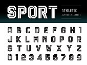 Vector of Athletic Alphabet Letters and numbers, Geometric Font Technology, Sport, Futuristic Future, Bold Letters set for Force, school, army, power, academy, College, University, fitness, sportswear
