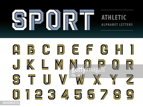 Vector of Athletic Alphabet Letters and numbers, Geometric Font Technology, Sport, Futuristic Future : stock vector