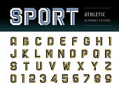 Vector of Athletic Alphabet Letters and numbers, Geometric Font Technology, Sport, Futuristic Future, Fill and Line Letters set for Force, school, army, power, academy, College, University, fitness, s