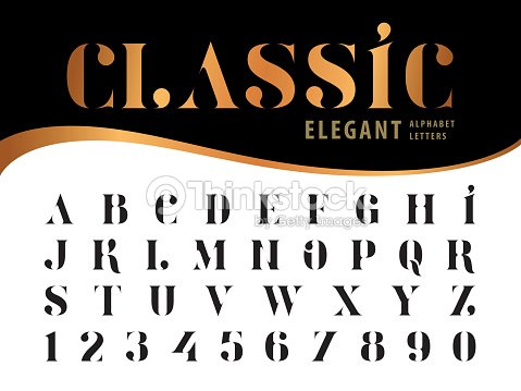 vector of elegant alphabet letters and numbers serif style fonts vintage and retro typography