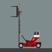 Vector of forklift working with cargo container and carton and crane hook. Flat and solid color design vector.