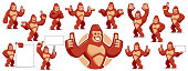 Vector of Gorilla mascot character set