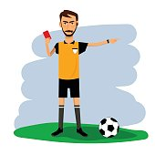 Vector of soccer, football referee with yellow card. Cartoon character