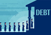 Education savings for college. Loan concept. Vector of students staying in line to borrow money in bank to pay for education.
