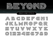 Vector of Futuristic Alphabet Letters and numbers, One linear stylized rounded fonts, One single line for each letter, Double Line Letters set for sci-fi, military.
