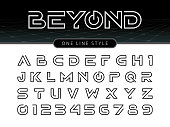 Vector of Futuristic Alphabet Letters and numbers, One linear stylized rounded fonts, One single line for each letter, Thin Letters set for sci-fi, military.