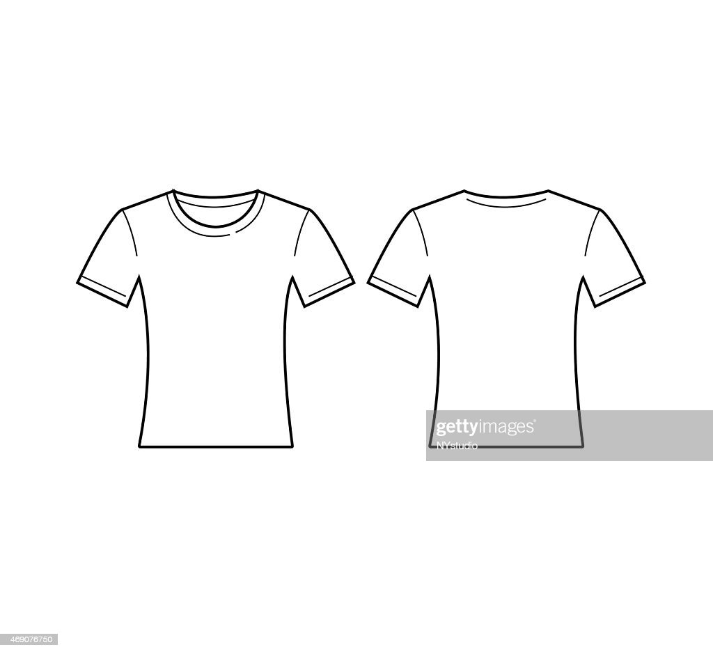 Vector Of Women White Tshirt Template Front And Back Vector Art