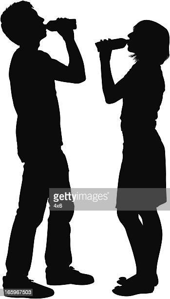 Vector of young man and woman drinking water