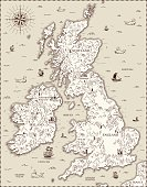Vector old map, Great Britain