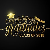Vector illustration on black graduations background congratulations graduates 2018 class of, glitter, glittering sign for the graduation party. Typography greeting, invitation card with diplomas, hat