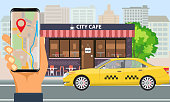 Online Taxi service. Yellow taxi cab and hand holding smartphone with taxi application and city landscape. Illustrated vector.
