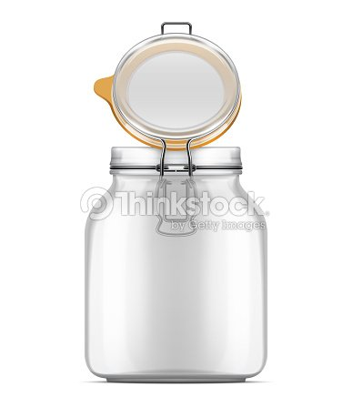 Vector Open Bale Glass Jar With Swing Top Lid Isolated Over