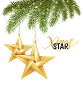 Origami christmas star hanging on spruce tree branch for holiday poster design. Golden paper shiny xmas decoration object on black background. Traditional winter holiday. Vector illustration