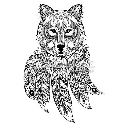 Vector Ornamental Wolf With Dreamcatcher Vector Art