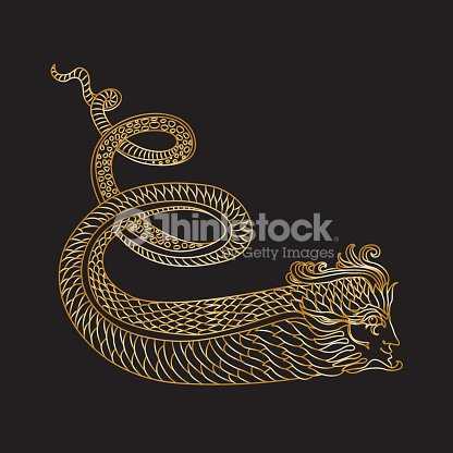 Vector Ornate Gold Contour Drawing Of Fantasy Snake Man On A