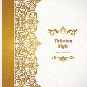 Vector ornate seamless border in Victorian style. Gorgeous element for design, place for text. Ornamental vintage pattern for wedding invitations, birthday and greeting cards.Traditional golden decor.