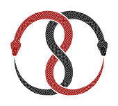 Ouroboros symbol tattoo design. Vector illustration of two intertwined snakes eat their tails. Red and black serpents isolated on a white background.