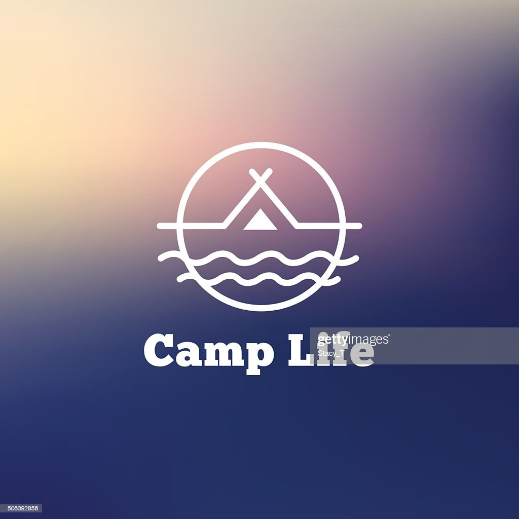 Tent on a river hipster sign  Vector Art & Vector Outline Camping Icon Tent On A River Hipster Sign Vector ...