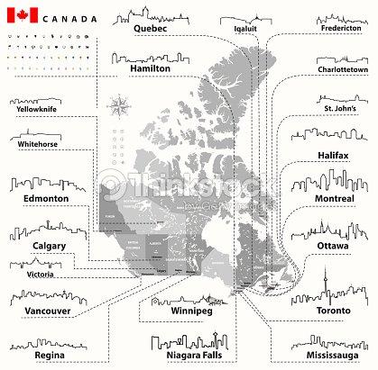 Carte Canada Avec Ville.Icones Contour Vector Dhorizons De Villes Du Canada Avec Carte