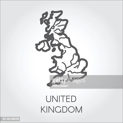 Vector outline map of United Kingdom. Great Britain linear shape icon. Cartography symbol of country : Vector Art