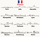 vector outlines icons of France cities skylines