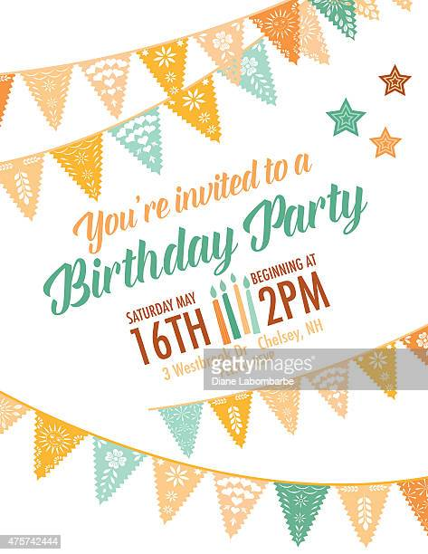 Vector Papel Picado birthday invitation template