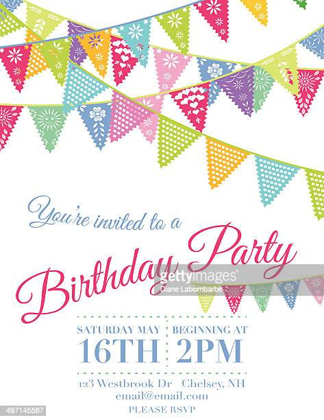 Vector Papel Picado Flags Birthday invitation template