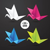Vector paper origami crane icon. Colorful set. Design for your identity. Logo modern style
