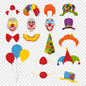 Vector Party Birthday or 1th april - Fool s Day - photo booth props. Hats, wigs, neckties, clown noses, masks, balloons and cylinder icon set isolated on transparency grid background. Clipart, design
