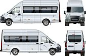 Vector passenger van template isolated on white. Side, front and back view. Available EPS-10 separated by groups and layers with transparency effects for one-click repaint